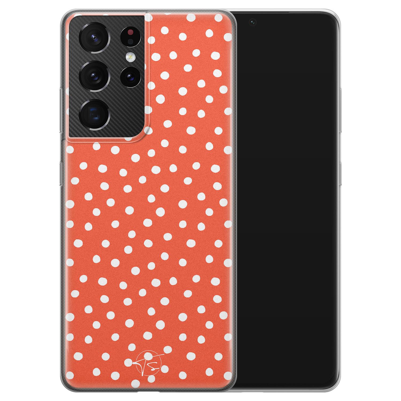 Telefoonhoesje Store Samsung Galaxy S21 Ultra siliconen hoesje - Orange dots