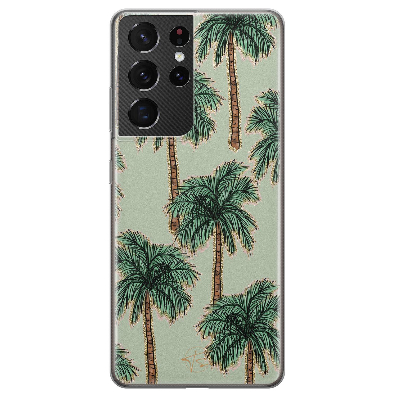 Telefoonhoesje Store Samsung Galaxy S21 Ultra siliconen hoesje - Palmbomen