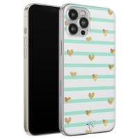 Telefoonhoesje Store iPhone 12 Pro Max siliconen hoesje - Mint hartjes