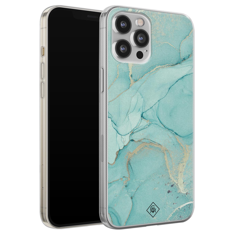 Casimoda iPhone 12 Pro Max siliconen hoesje - Marmer mintgroen
