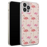 Telefoonhoesje Store iPhone 12 Pro Max siliconen hoesje - Flamingo