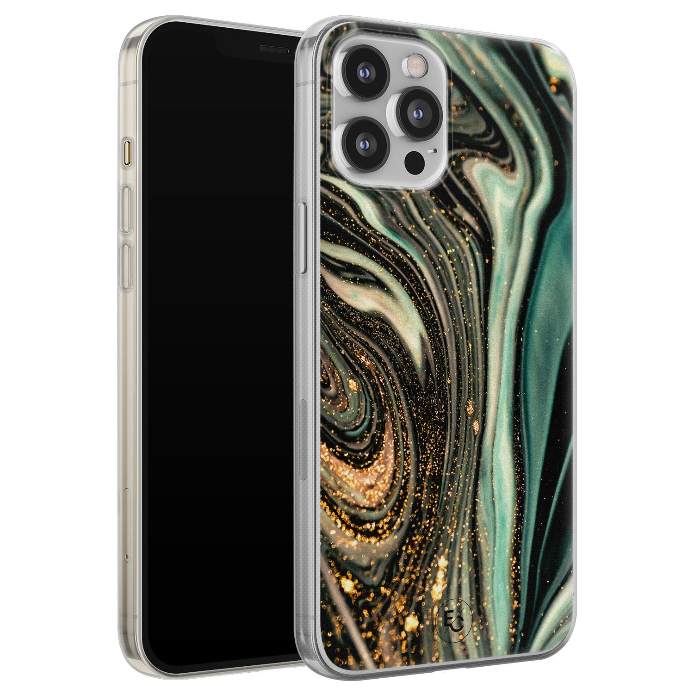 ELLECHIQ iPhone 12 Pro Max siliconen hoesje - Marble Khaki Swirl