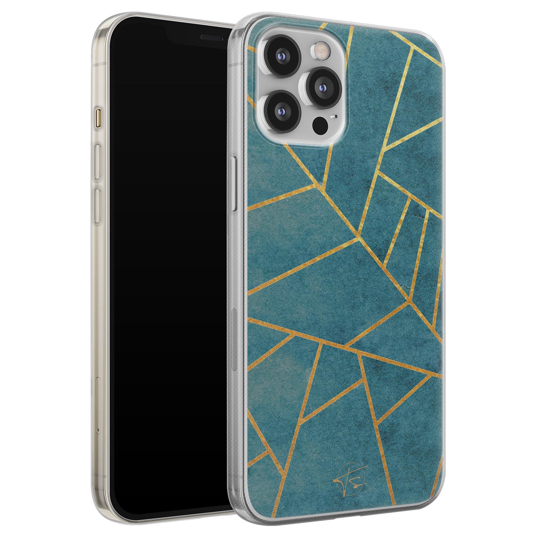 Telefoonhoesje Store iPhone 12 Pro Max siliconen hoesje - Abstract blauw