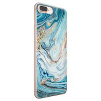 Telefoonhoesje Store iPhone 8 Plus/7 Plus siliconen hoesje - Marmer blauw goud