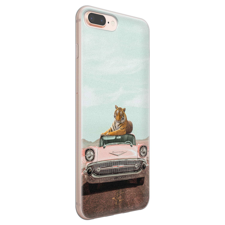 ELLECHIQ iPhone 8 Plus/7 Plus siliconen hoesje - Chill tijger
