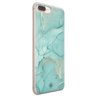 Casimoda iPhone 8 Plus/7 Plus siliconen hoesje - Marmer mintgroen