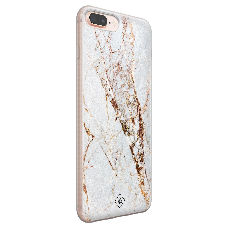 Casimoda iPhone 8 Plus/7 Plus siliconen hoesje - Goud marmer
