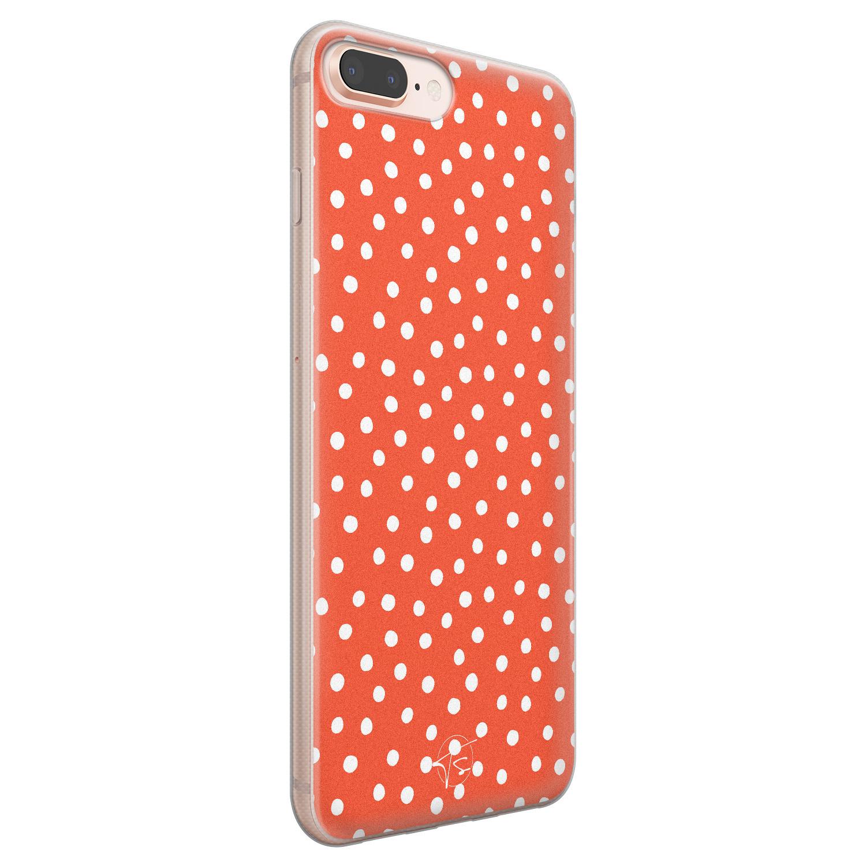 Telefoonhoesje Store iPhone 8 Plus/7 Plus siliconen hoesje - Oranje stippen