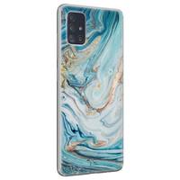Telefoonhoesje Store Samsung Galaxy A51 siliconen hoesje - Marmer blauw goud