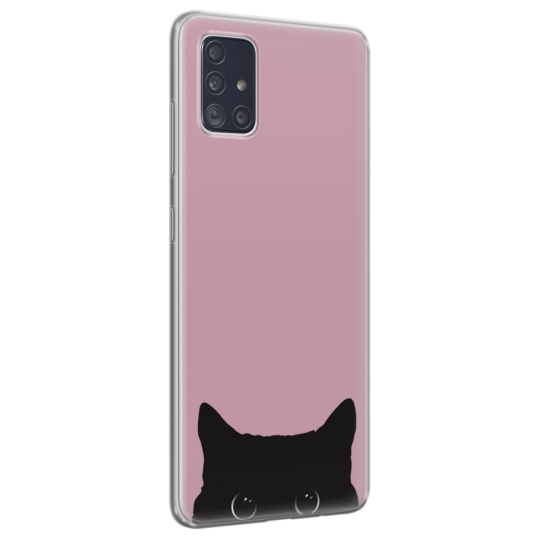 Telefoonhoesje Store Samsung Galaxy A51 siliconen hoesje - Zwarte kat