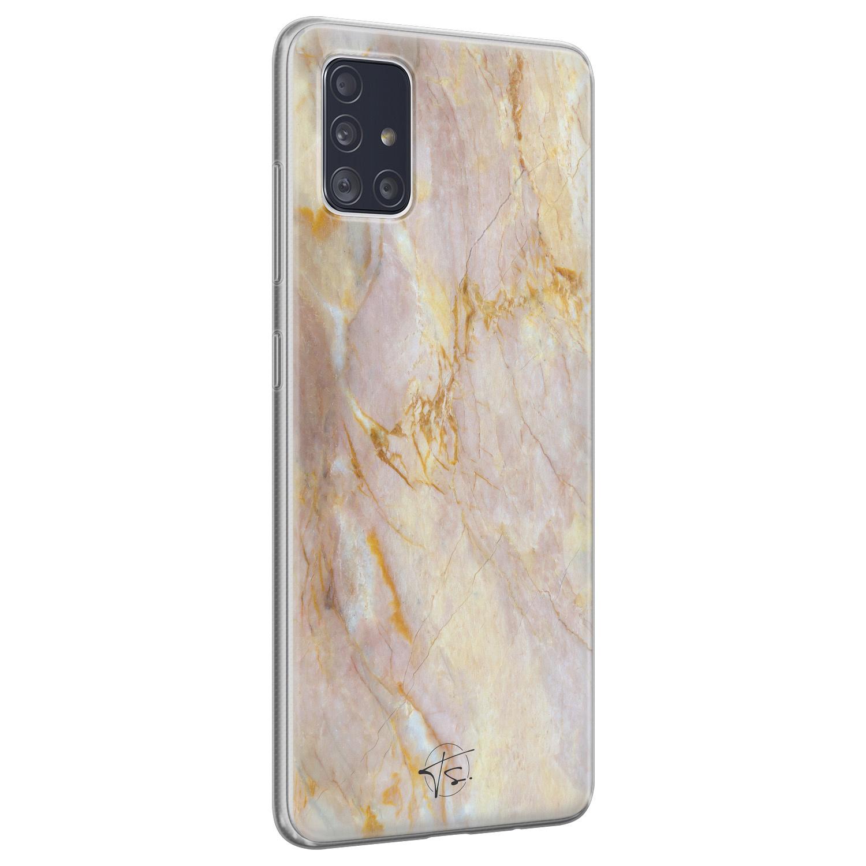 ELLECHIQ Samsung Galaxy A51 siliconen hoesje - Stay Golden Marble