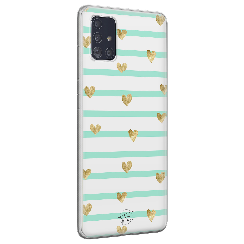 Telefoonhoesje Store Samsung Galaxy A51 siliconen hoesje - Mint hartjes