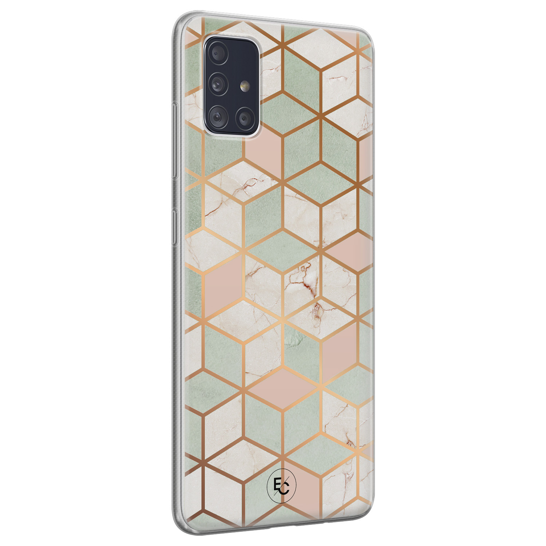 ELLECHIQ Samsung Galaxy A51 siliconen hoesje - Pastel Kubus