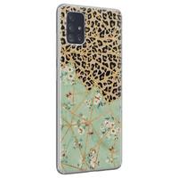 Leuke Telefoonhoesjes Samsung Galaxy A51 siliconen hoesje - Luipaard flower print