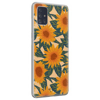 Telefoonhoesje Store Samsung Galaxy A71 siliconen hoesje - Zonnebloemen