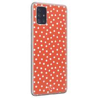 Telefoonhoesje Store Samsung Galaxy A71 siliconen hoesje - Orange dots