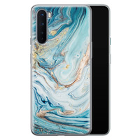 Telefoonhoesje Store OnePlus Nord siliconen hoesje - Marmer blauw goud