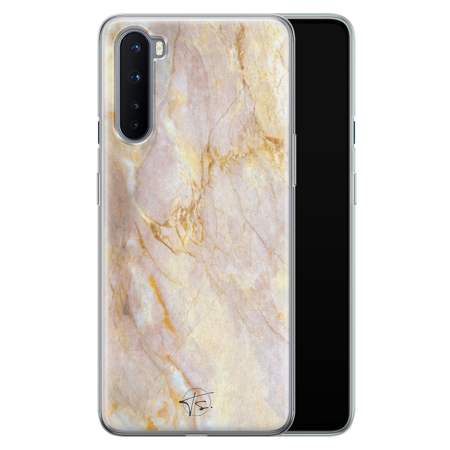 ELLECHIQ OnePlus Nord siliconen hoesje - Stay Golden Marble