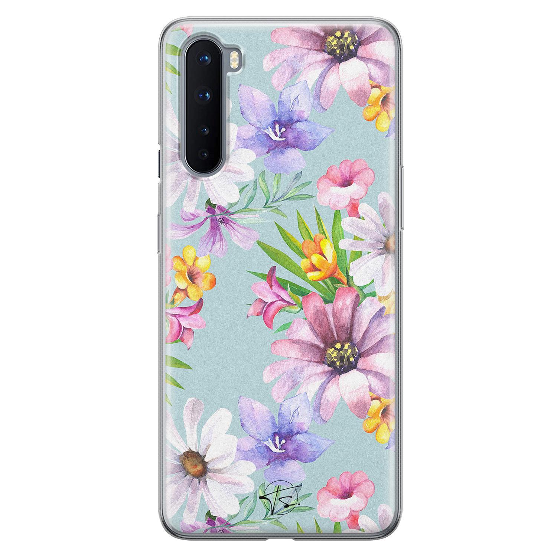 Telefoonhoesje Store OnePlus Nord siliconen hoesje - Mint bloemen