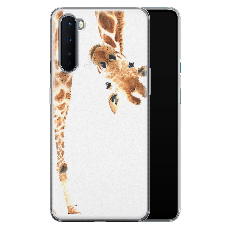 Leuke Telefoonhoesjes OnePlus Nord siliconen hoesje - Giraffe peekaboo