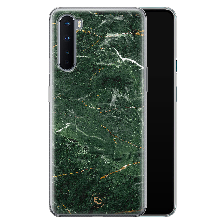 ELLECHIQ OnePlus Nord siliconen hoesje - Marble jade green