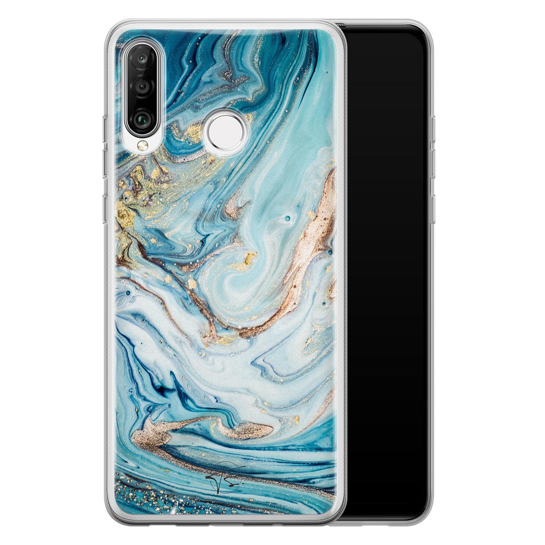 Telefoonhoesje Store Huawei P30 Lite siliconen hoesje - Marmer blauw goud