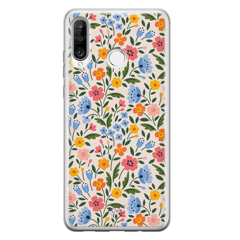 Telefoonhoesje Store Huawei P30 Lite siliconen hoesje - Romantische bloemen