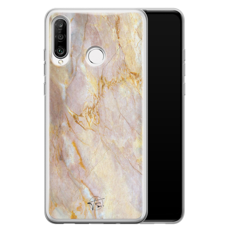 ELLECHIQ Huawei P30 Lite siliconen hoesje - Stay Golden Marble