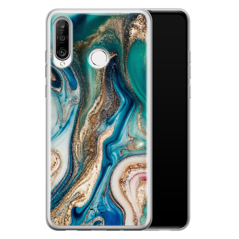 Telefoonhoesje Store Huawei P30 Lite siliconen hoesje - Magic marble