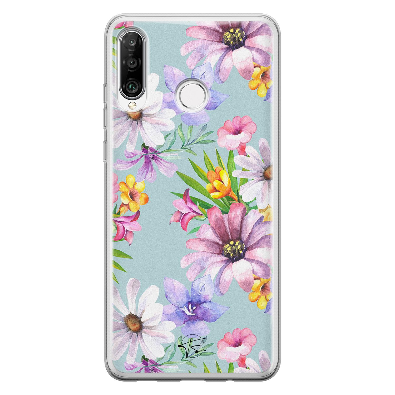 Telefoonhoesje Store Huawei P30 Lite siliconen hoesje - Mint bloemen