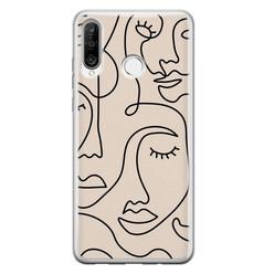 Leuke Telefoonhoesjes Huawei P30 Lite siliconen hoesje - Abstract gezicht lijnen