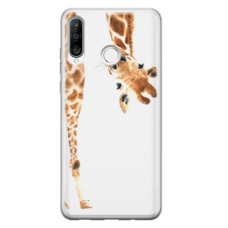 Leuke Telefoonhoesjes Huawei P30 Lite siliconen hoesje - Giraffe peekaboo