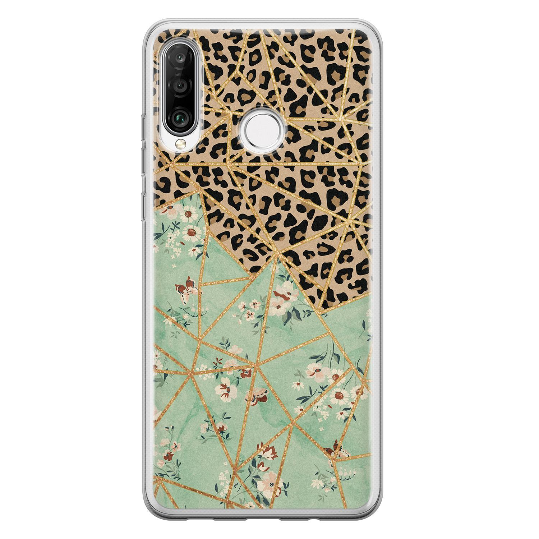 Leuke Telefoonhoesjes Huawei P30 Lite siliconen hoesje - Luipaard flower print