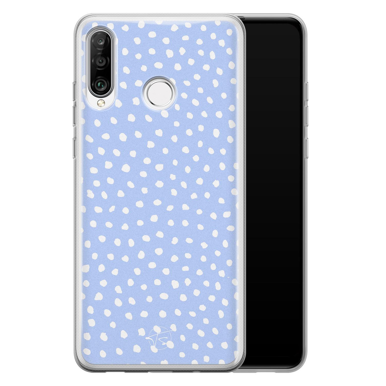 Telefoonhoesje Store Huawei P30 Lite siliconen hoesje - Purple dots