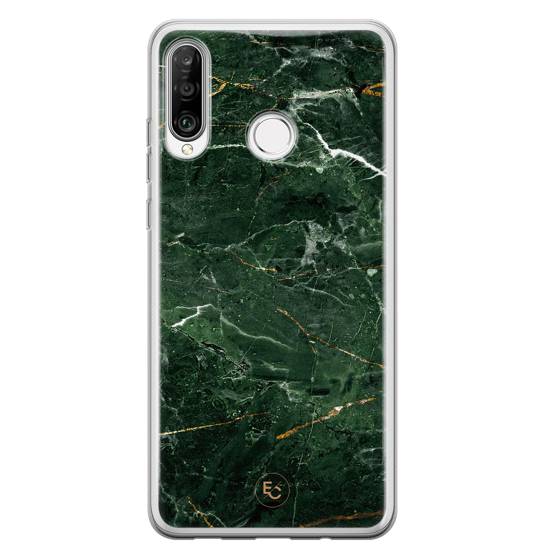 ELLECHIQ Huawei P30 Lite siliconen hoesje - Marble jade green