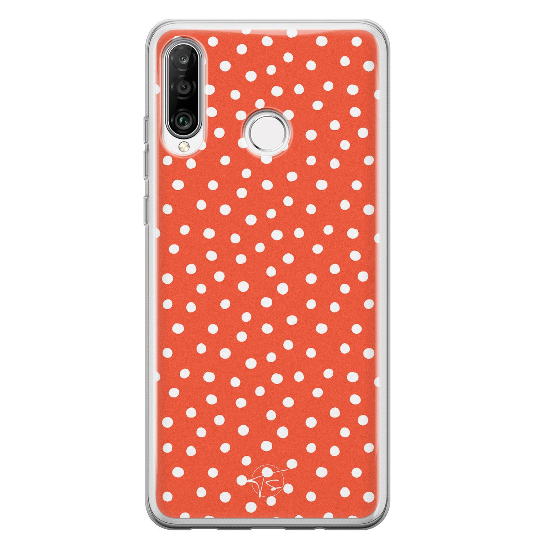 Telefoonhoesje Store Huawei P30 Lite siliconen hoesje - Orange dots