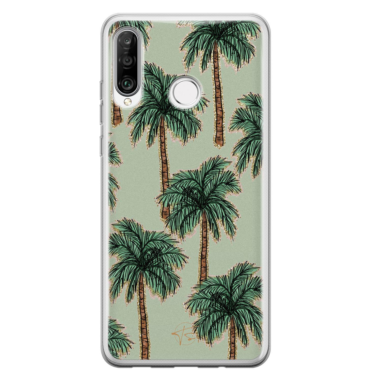 Telefoonhoesje Store Huawei P30 Lite siliconen hoesje - Palmbomen
