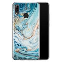 Telefoonhoesje Store Huawei P Smart 2019 siliconen hoesje - Marmer blauw goud