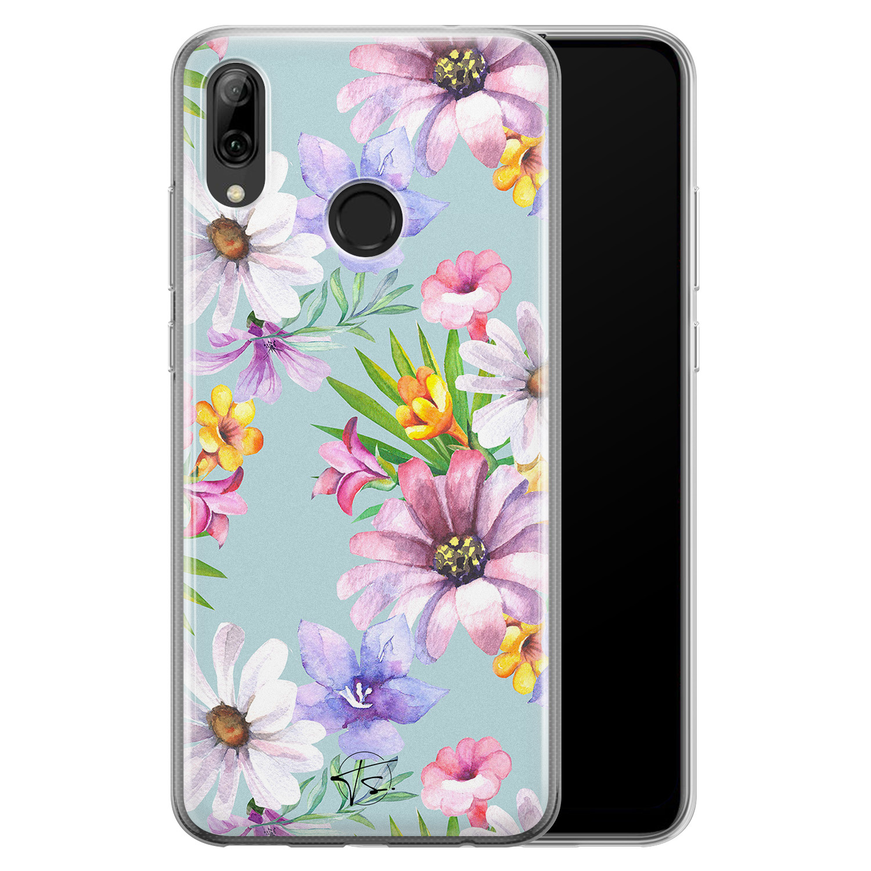 Telefoonhoesje Store Huawei P Smart 2019 siliconen hoesje - Mint bloemen