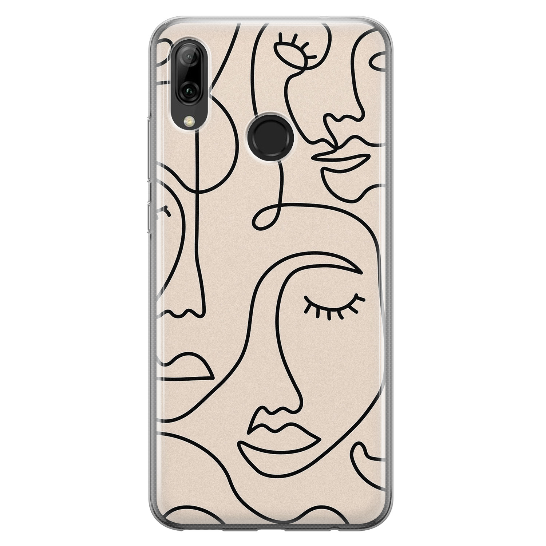 Leuke Telefoonhoesjes Huawei P Smart 2019 siliconen hoesje - Abstract gezicht lijnen