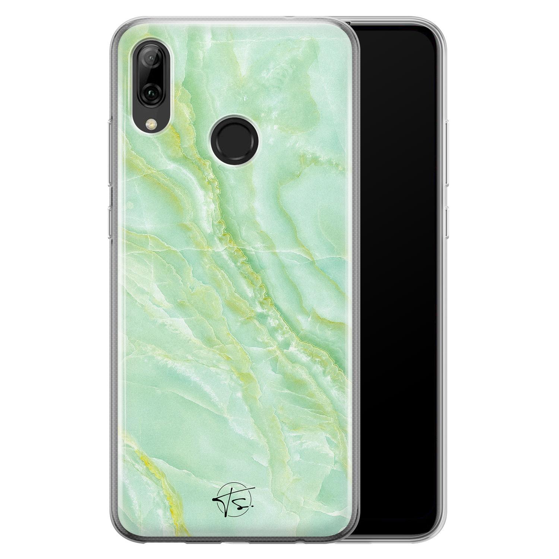Telefoonhoesje Store Huawei P Smart 2019 siliconen hoesje - Marmer Limegroen