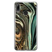 ELLECHIQ Huawei P Smart 2019 siliconen hoesje - Marble Khaki Swirl
