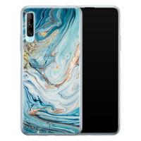 Telefoonhoesje Store Huawei P Smart Pro siliconen hoesje - Marmer blauw goud