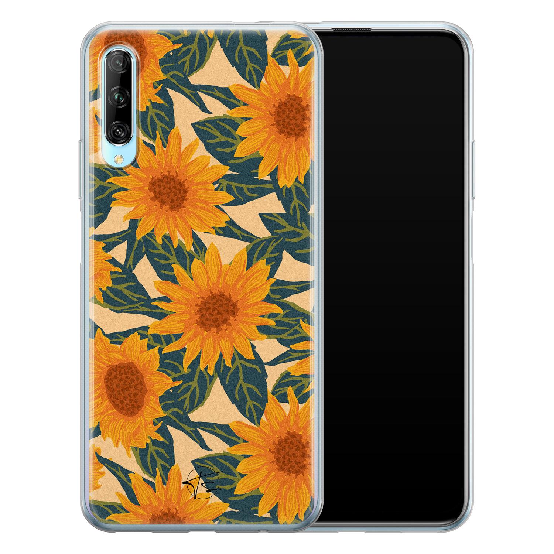 Telefoonhoesje Store Huawei P Smart Pro siliconen hoesje - Zonnebloemen