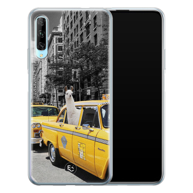 ELLECHIQ Huawei P Smart Pro siliconen hoesje - Lama in taxi