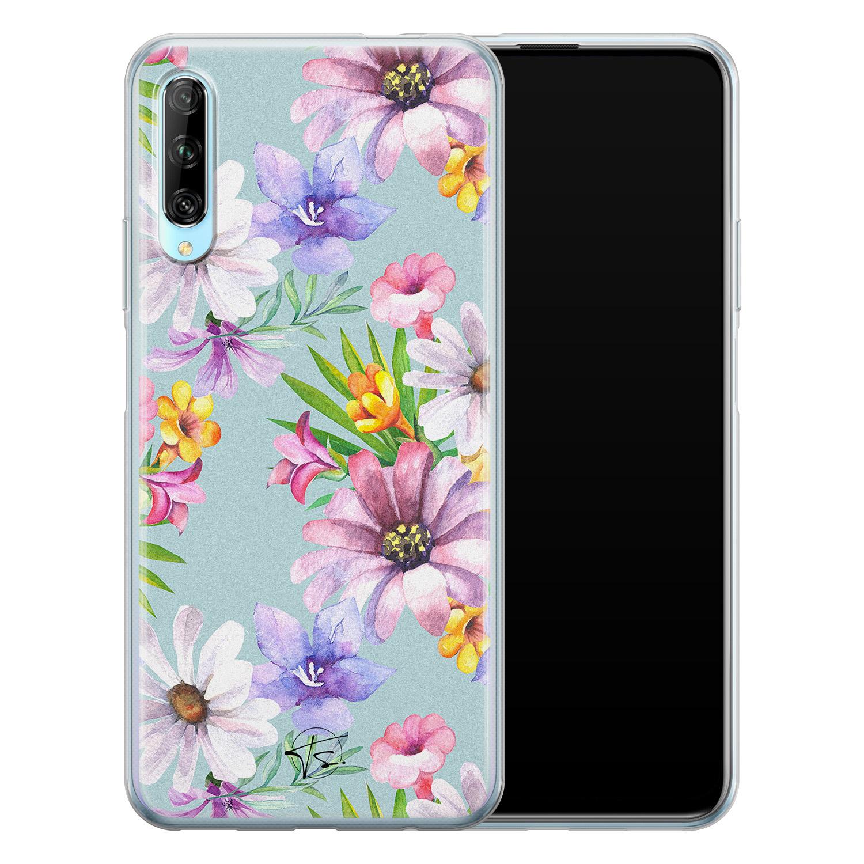 Telefoonhoesje Store Huawei P Smart Pro siliconen hoesje - Mint bloemen