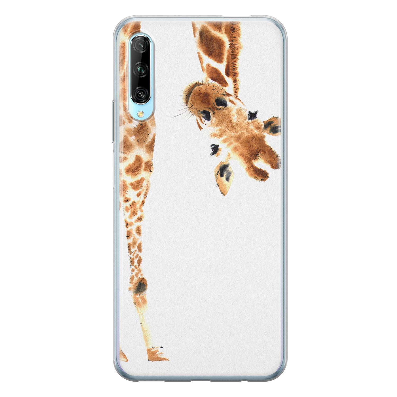 Leuke Telefoonhoesjes Huawei P Smart Pro siliconen hoesje - Giraffe peekaboo