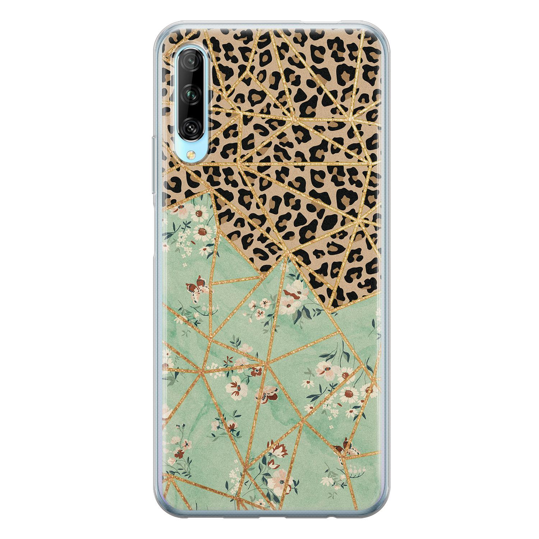 Leuke Telefoonhoesjes Huawei P Smart Pro siliconen hoesje - Luipaard flower print