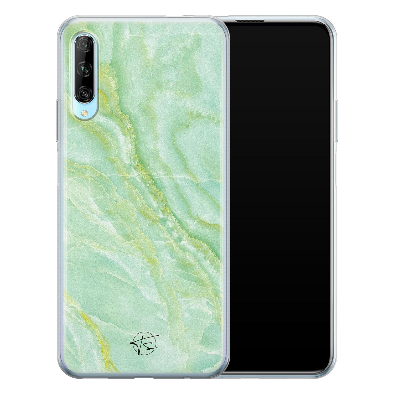 Telefoonhoesje Store Huawei P Smart Pro siliconen hoesje - Marmer Limegroen