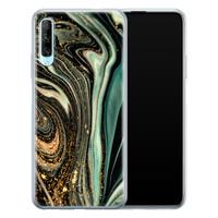 ELLECHIQ Huawei P Smart Pro siliconen hoesje - Marble Khaki Swirl